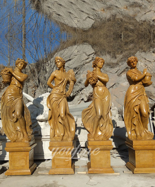 Antique White Marble Statues Four Seasons For Hotel on selling