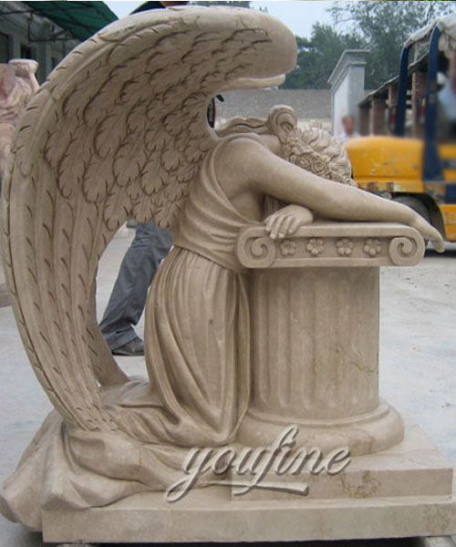 Beige marble crying angel tombdtone for sale (2)