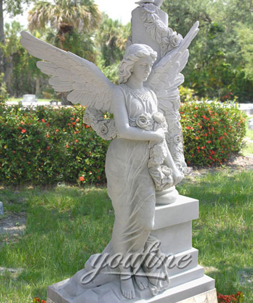 Best Detailed Carvings angel marble headstone for grave decorations cost (2)