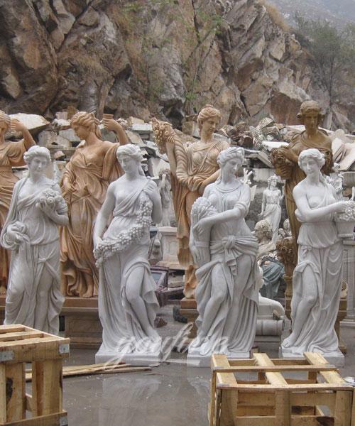 Classic Designs Colored Four Season Lady marble garden statue