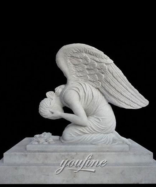 Classic Modern White Marble Carving Weeping Angel Tombstone for sale