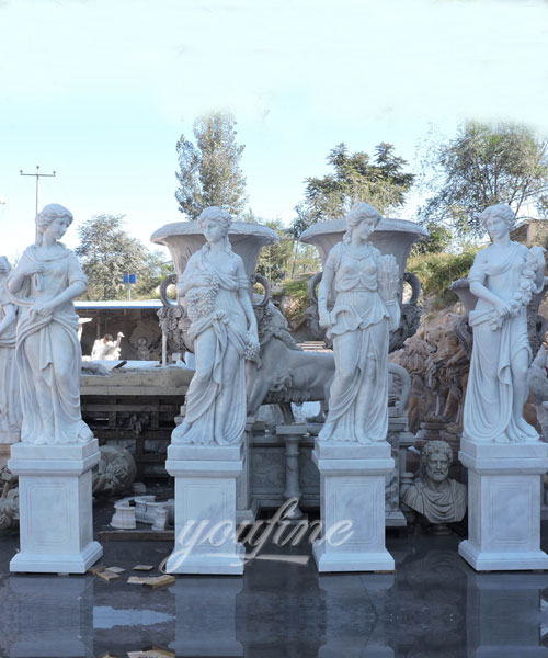Colorful Marble Stone Four Season God Sculptures