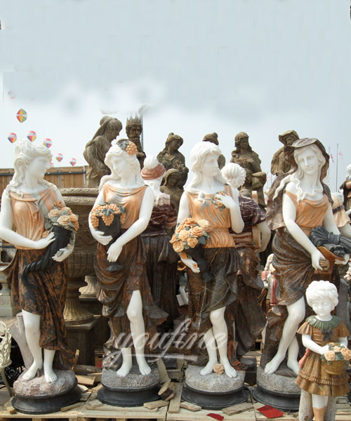 Customized Service Four Season Ladies natural marble statue for garden