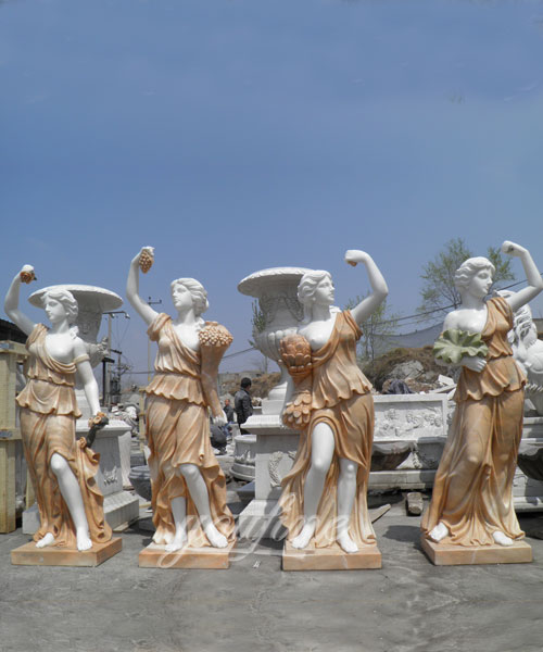 Elegant Stone Carved Luxury Home Decoration Life Size Greek Four Seasons Marble Statues