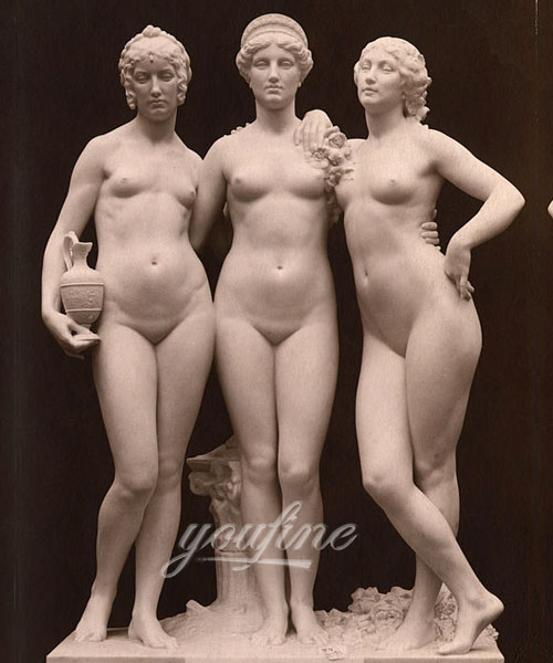 European stone famous marble figure the three Graces relief for indoor ornament