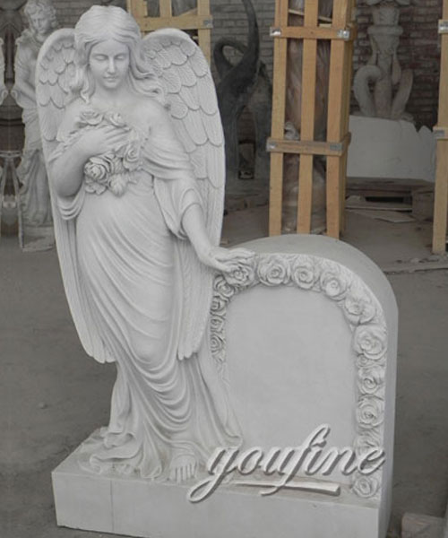 European style cemetery white marble angel tombstone with flower carved
