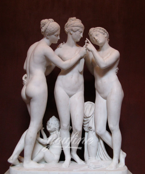 Famous stone three graces female nude marble sculptures