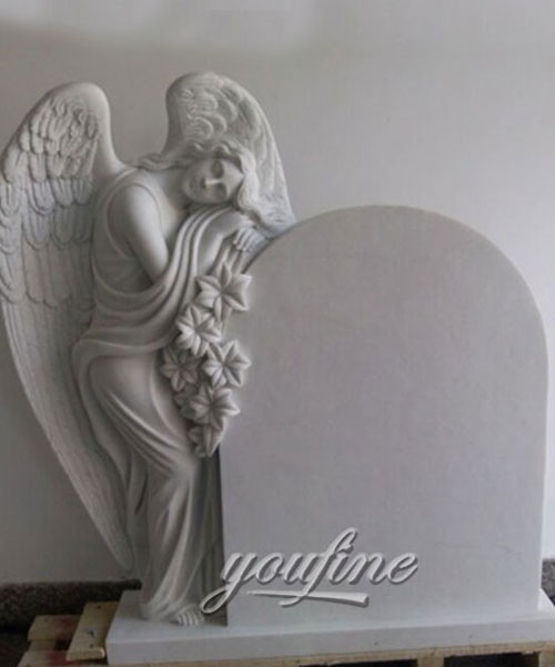 Grave decoration white marble angel of grace on sale