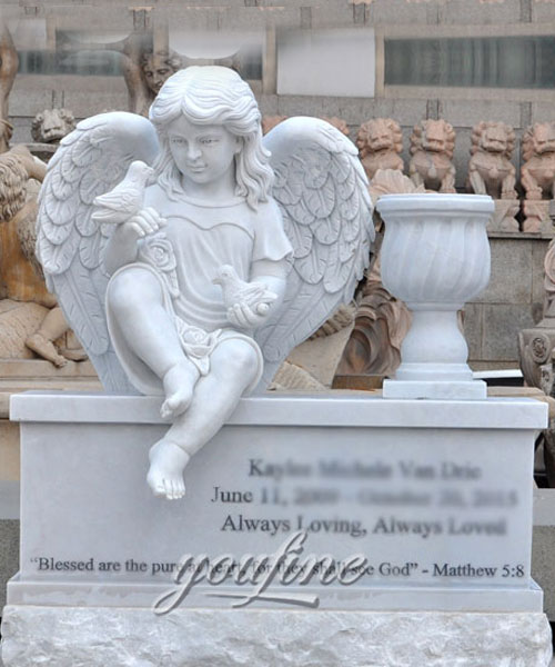 Hand Carved Factory Direct Sale white marble cherub grave decoration (2)
