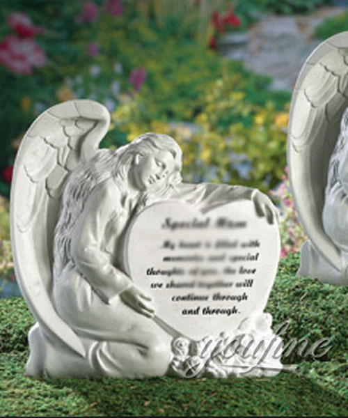 Hand carved natural marble angel heart shape headstones monuments price (2)