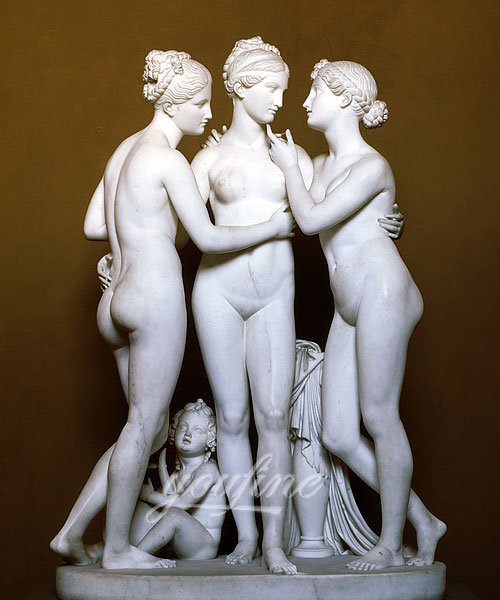 High quality stone sculpture the three graces marble statue for decor