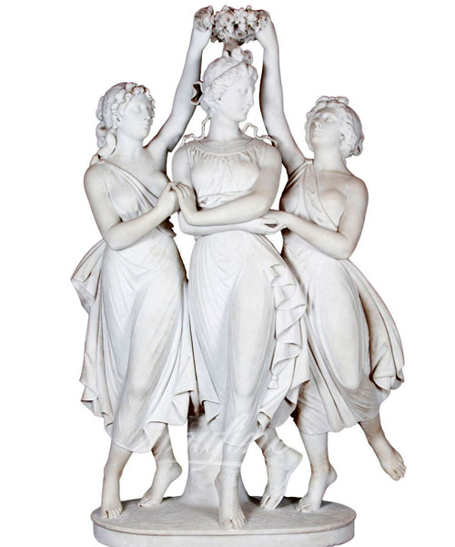 Life size nude female the three graces marble statue for decoration