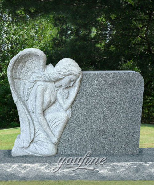 Marble Stone Carving Headstone Weeping Angel Monument for Sale
