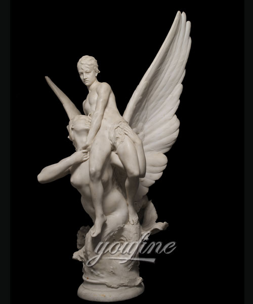Modern Winged Siren Seizing an Adolescent angel statues for garden