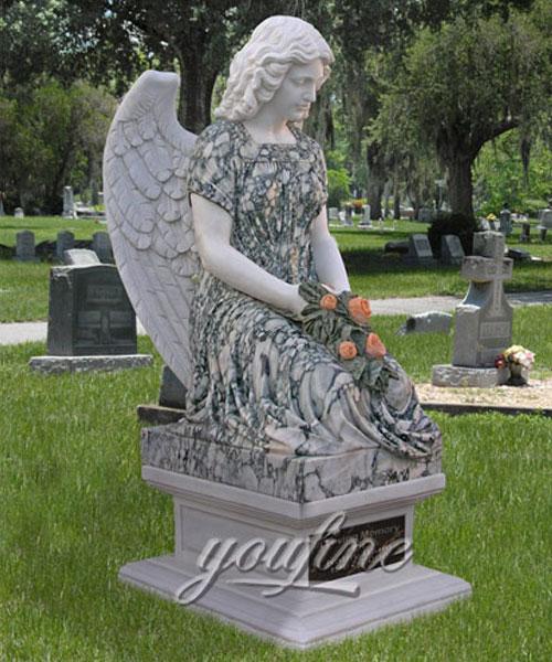 Multicolor marble stone kneeling angel headstone new design