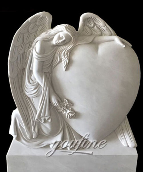 Natural Marble Angel Heart Headstone Monument Tombstone Design for sale
