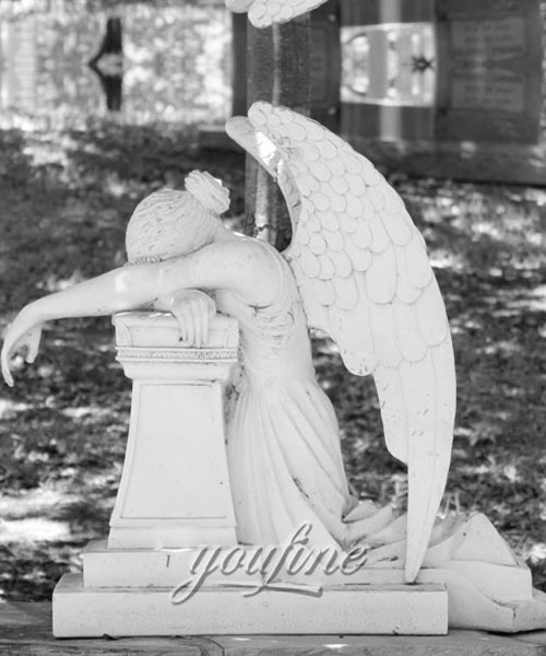 Natural Marble Hand Carved antique marble cermetery statue crying angel headstone price (2)