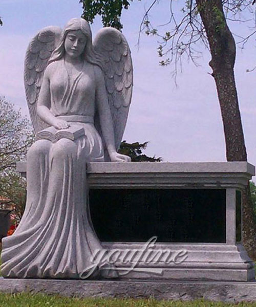 Nature stone grieving angel sitting bench head stone for sale