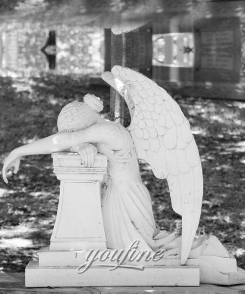 Pure white marble weeping angel tombstone with memorial benches to buy (2)