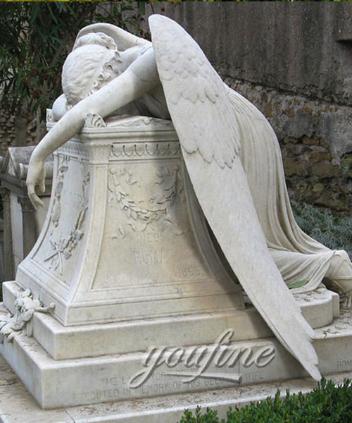 Stone crying angel tombstone with grave vase for sale (2)