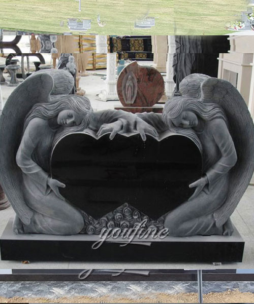 Unique Double Heart Carving weeping angel Grave Monument design for sale