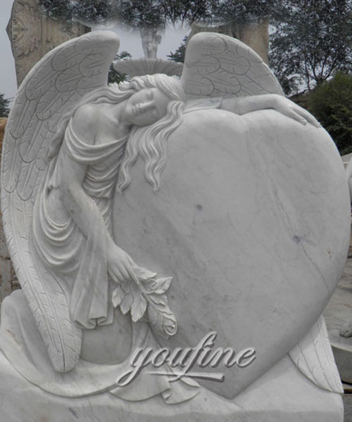 Upright stone carved fallen angel hold heard memorial for sale