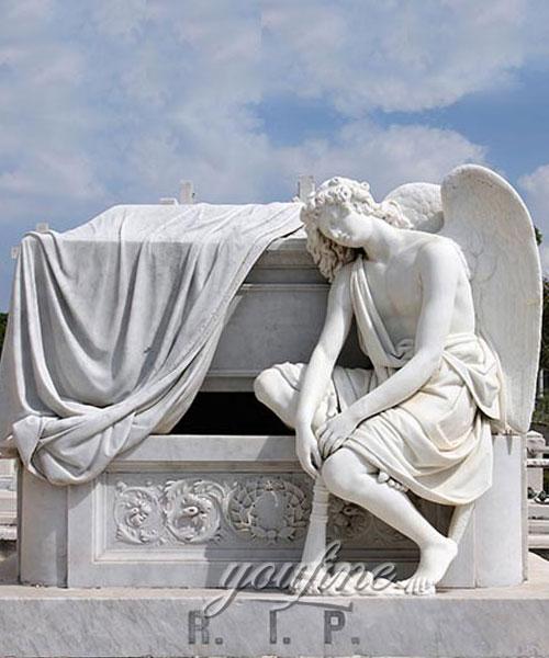 White Stone holloween fallen angel tombstone for sale