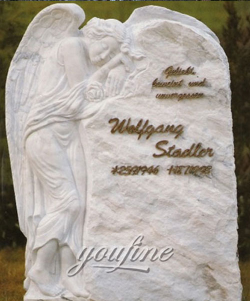 Factory supply white marble and weeping angel tombstone