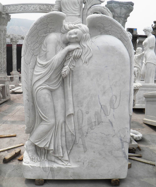 White-marble-angel-hold-pigeon-sittinf-on-bench-headstones-for-sale