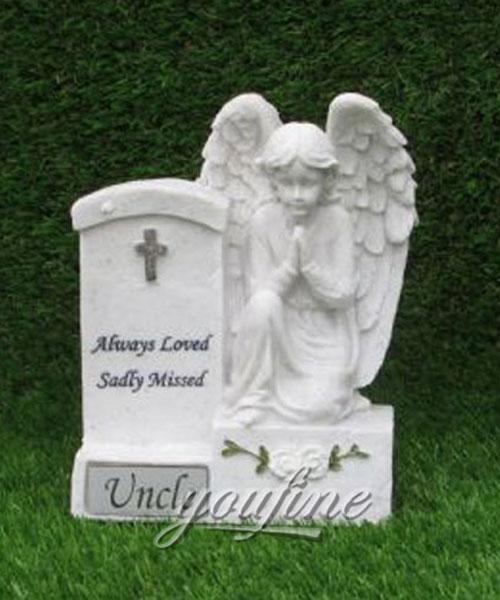 White stone preying angel grave new design