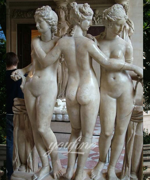 White the three graces marble statue for decor